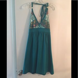 Green sun dress with shelf bra and sequence top